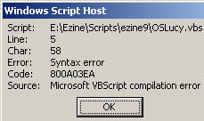 Code 800A03EA - Syntax Error in VBScript