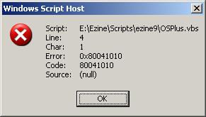 Code Error 80041010 WSH VBScript