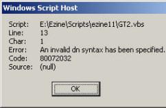 Code  80072032 - An invalid dn syntax
