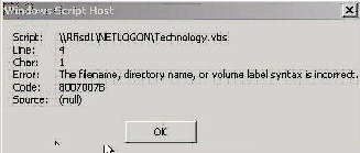 Code 8007007B File, Volume Syntax error