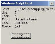 WSH Error Code 80004005 - Unspecified Error