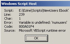 Code 800A03F4 Error: Variable Undefined