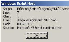 Code 800A01F5 Illegal assignment WSH Script