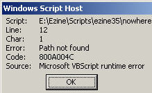 Code 800A004C Error - Path not found.   VBScript Microsoft