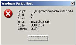 800401E4 - Invalid Syntax LDAP VBScript error
