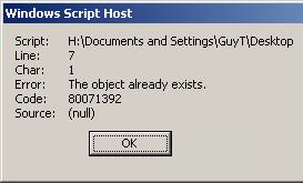 Code 80071392  Object already exists