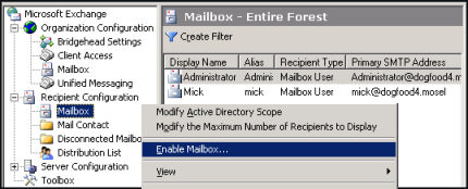 Create mailbox in Exchange 2007 with Exchange System Manager