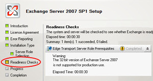 Exchange 2007 Readiness check Edge Server Role