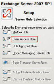 Exchange 2007 Server Roles - Selection