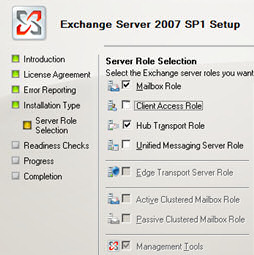 Install Exchange 2007- Choosing the roles