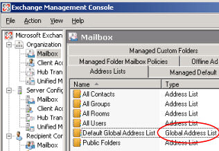 Exchange server 2010 address book not updating