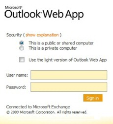 Microsoft Exchange OWA 2010 Outlook Web App