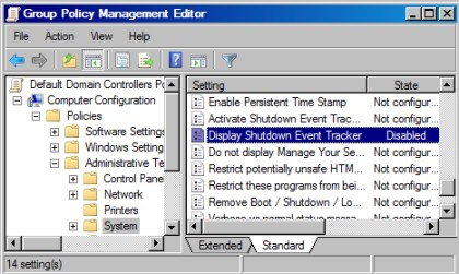 Group Policy Shutdown Event Tracker