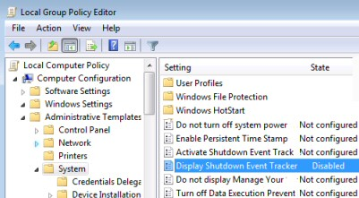 Display Shutdown Event Tracker Group Policy Windows 2003