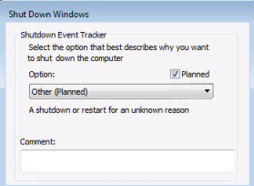 Turn off Shutdown Event Tracker in Windows Server 2003