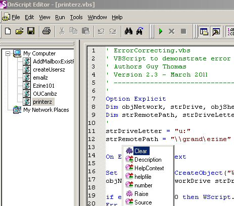 OnScript VBScript Editor