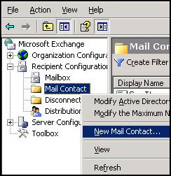 Create new MailContact with Exchange 2007 System Manger