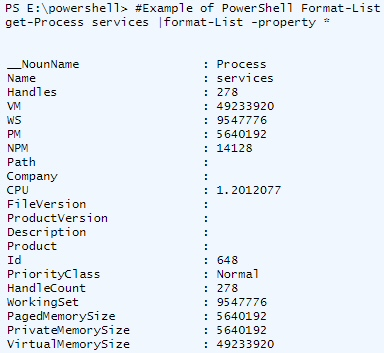 PowerShell Format-list