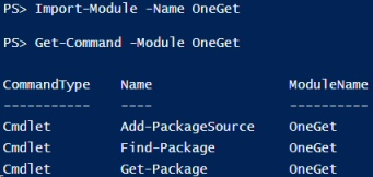 Windows PowerShell 5.0 OneGet