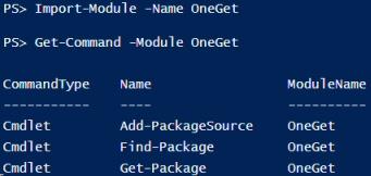 Windows PowerShell 5.0 OneGet