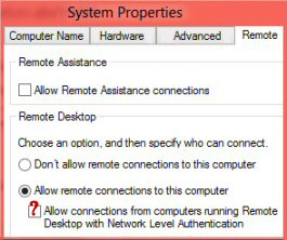Allow Connections from Computer running Remote Desktop
