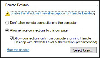 Remote Desktop Connection Server 2012