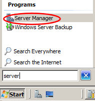 Launch Server Manager - Windows Server 2008