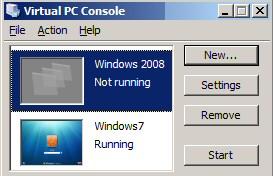 Microsoft Virtual PC 2007 Windows 2008