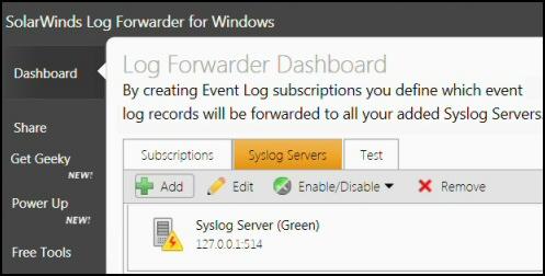 SolarWinds Event Log Forwarder Syslog Server Dashboard
