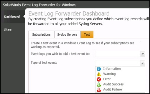 Test SolarWinds Event Log Forwarder