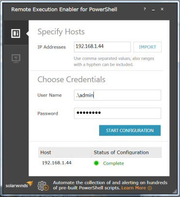 SolarWinds Remote Execution Enabler for PowerShell