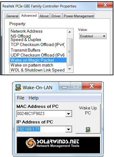 Solarwinds Wake-on-Lan Tool