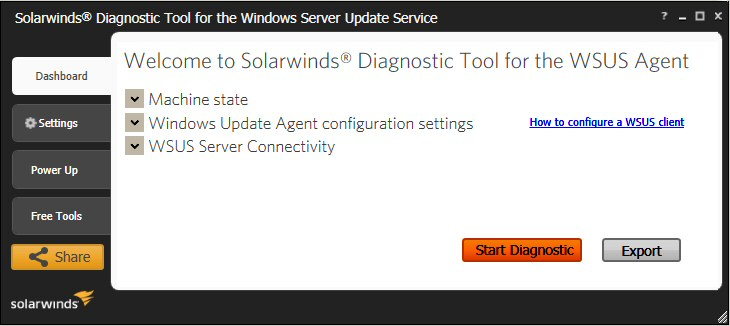 SolarWinds Diagnostic Tool for WSUS Agent