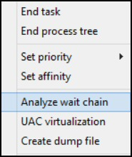 Windows 8 Task Manager Analyze Wait Chain