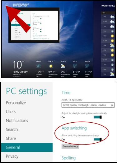 Windows 8 Apps Switch PC Settings