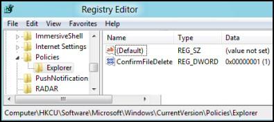 ConfirmFileDelete Registry Windows 8
