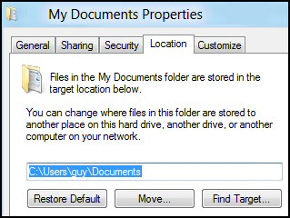 Change My Documents in Windows 8