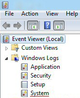 Windows 8 System Log Event Viewer