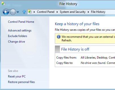 Create Windows 8 File History