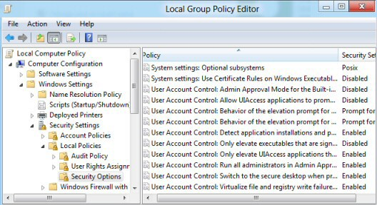 Change User Account Control Windows 8 GPEdit