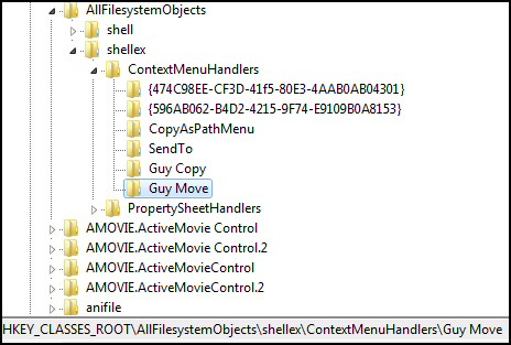 AllFileSystemObjects Registry tweak: Copy To