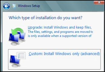 Custom Install Windows 8
