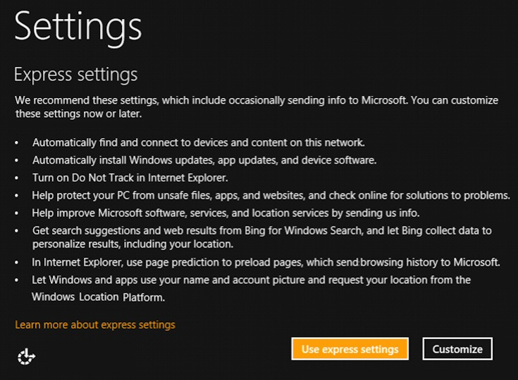 Install Windows 8.1 Settings