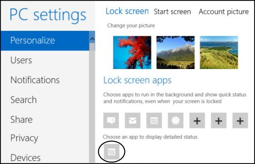 Windows 8 PC Settings - Personalize