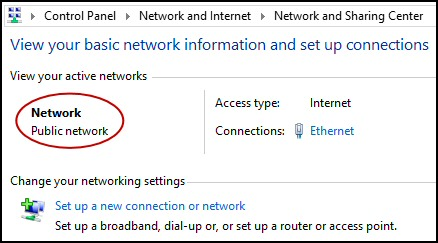 Windows 8 Public Network
