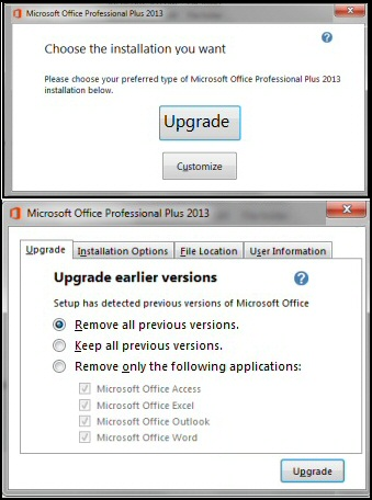 Upgrade Earlier Versions Office 2013