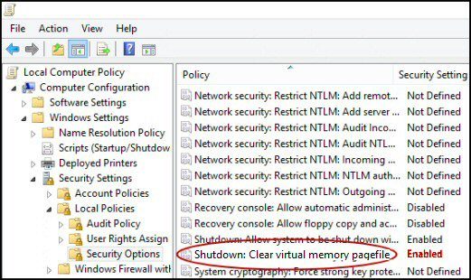 Group Policy Shutdown Clear Memory