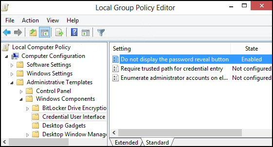 Do not display the password reveal button
