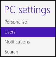 Windows 8 PC Settings Users