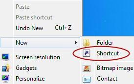 Create Shortcut Windows 8